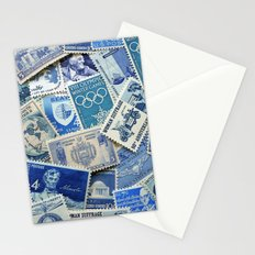 Vintage Postage Stamp Collection - 02 (Blues) Stationery Cards