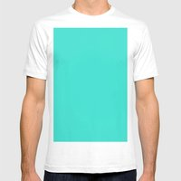 Turquoise Mens Fitted Tee White SMALL