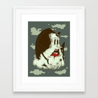 Creep Cloud Face Melt Framed Art Print