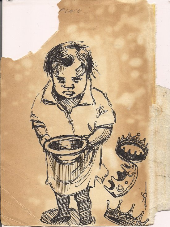 Hungry child crowns Art Print