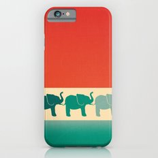 Three Elephants - Burnt orange, cream & teal iPhone 6s Slim Case
