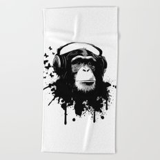 Monkey Business - White Beach Towel