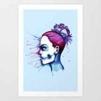 Blue Purple Sugar Skull … Art Print