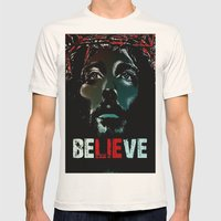 Believe Poster Mens Fitted Tee Natural SMALL