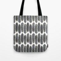 Black Stripe Feather Pattern Tote Bag