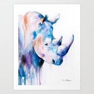 Art Print featuring Blue Rhino by Slaveika Aladjova
