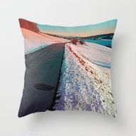 Winter Road In Vibrant C… Throw Pillow