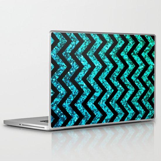 Chevron Aqua Sparkle Laptop & iPad Skin