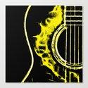 Pop Art Guitar Yellow Canvas Print