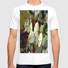 Bright Leaf White Mens Fitted Tee SMALL
