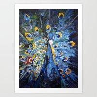 Blue Peacock  Art Print