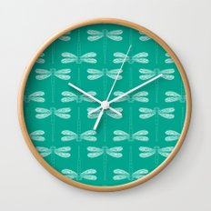 dragonfly in emerald Wall Clock