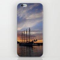 Schooner at sun rise iPhone & iPod Skin