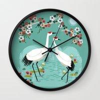 Cranes By Andrea Lauren Wall Clock