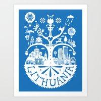 Lithuanian Myth - Blue Art Print