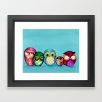 Fabric Owl Family Framed Art Print