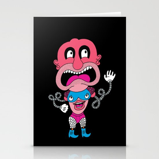 Red Face Weirdo Stationery Card
