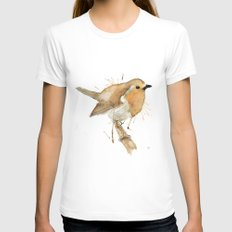 Ready Robin Womens Fitted Tee White SMALL
