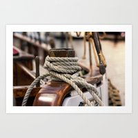 linen rope from the old ship  Art Print