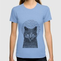 Dandelion Black Cat Womens Fitted Tee Athletic Blue SMALL