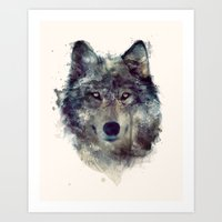 peace Art Prints featuring Wolf // Persevere  by Amy Hamilton