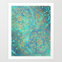 flower Art Prints featuring Sapphire & Jade Stained Glass Mandalas by micklyn