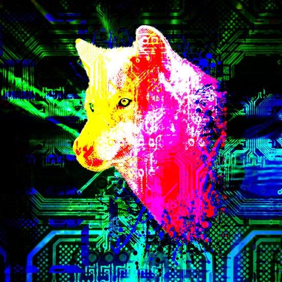 digital wolf Art Print