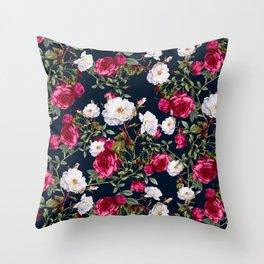 Throw Pillow - Vintage Roses on Darkblue - VS Fashion Studio