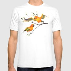 Parrots Sun Conures Mens Fitted Tee White SMALL