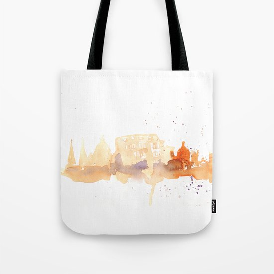 Watercolor landscape illustration_Rome - Colosseum Tote Bag