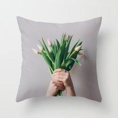 Yay Tulips! Throw Pillow