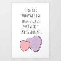 Candy Hearts Suck Art Print
