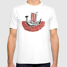 Lone Viking SMALL White Mens Fitted Tee