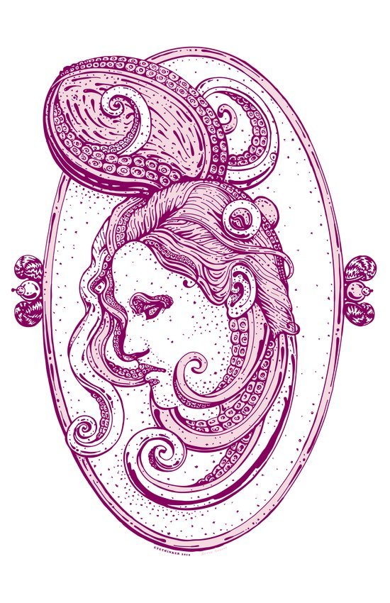 Octopus/girl in pink Art Print