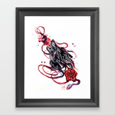 Howling Wolf And Rose Framed Art Print