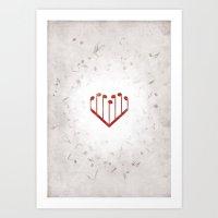 Music Heart gray Art Print