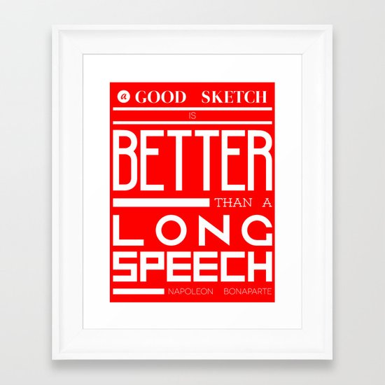 A Good Sketch- Red & White Framed Art Print