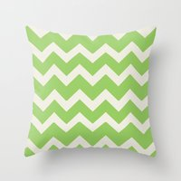 Crazy For Chevron - Lime Throw Pillow