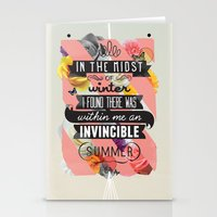 typography Stationery Cards featuring The Invincible Summer by Kavan and Co
