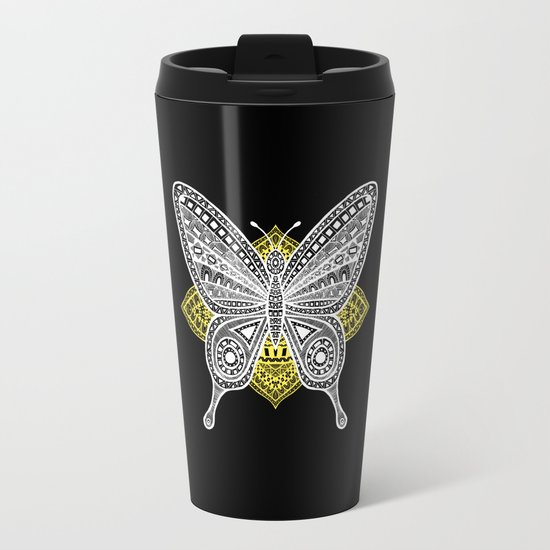 The Butterfly Watercolor Illustration on Travel Mug by Haidi Shabrina