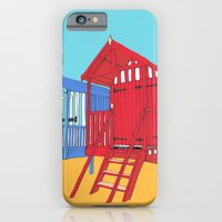 iPhone & iPod Case featuring Thoughts of Summer // Beach Huts by bluebutton studio