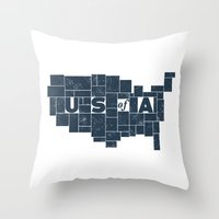 U S of A Throw Pillow
