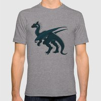Teal Dragon Mens Fitted Tee Athletic Grey SMALL