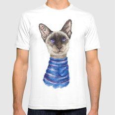 Siamese Cat Mens Fitted Tee SMALL White