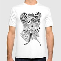 Elephant Butterfly Mens Fitted Tee White SMALL