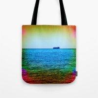 Cargo Ship on the Horizon Tote Bag