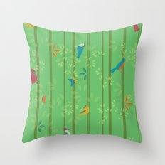 Hello Birdies Throw Pillow