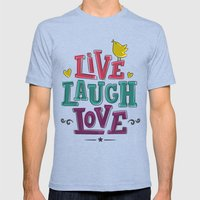 live laugh love Mens Fitted Tee Tri-Blue SMALL