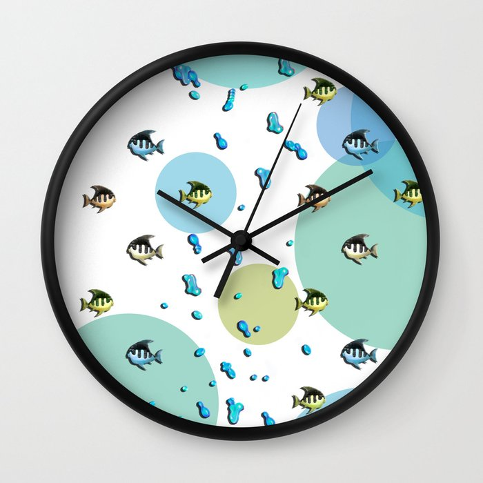 Bubbles and fish wall clock by loro art pictures society6 for Fish wall clock