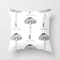Lepiots Castanea // Hand drawn fungus series Throw Pillow